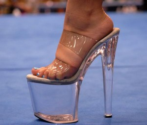 High heel shoe or portable fish tank for Shoes with fish in them
