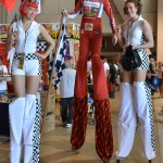 Long Beach Grand Prix girls on stilts