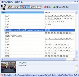 shutter release number iexif