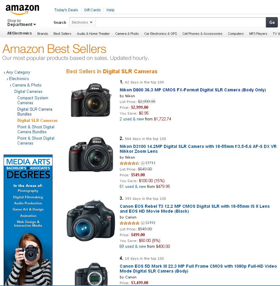 Nikon D800 tops Amazon\'s Best Selling Digital SLR Camera List