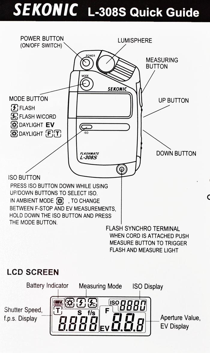 Sekonic flashmate l-308s instruction manual
