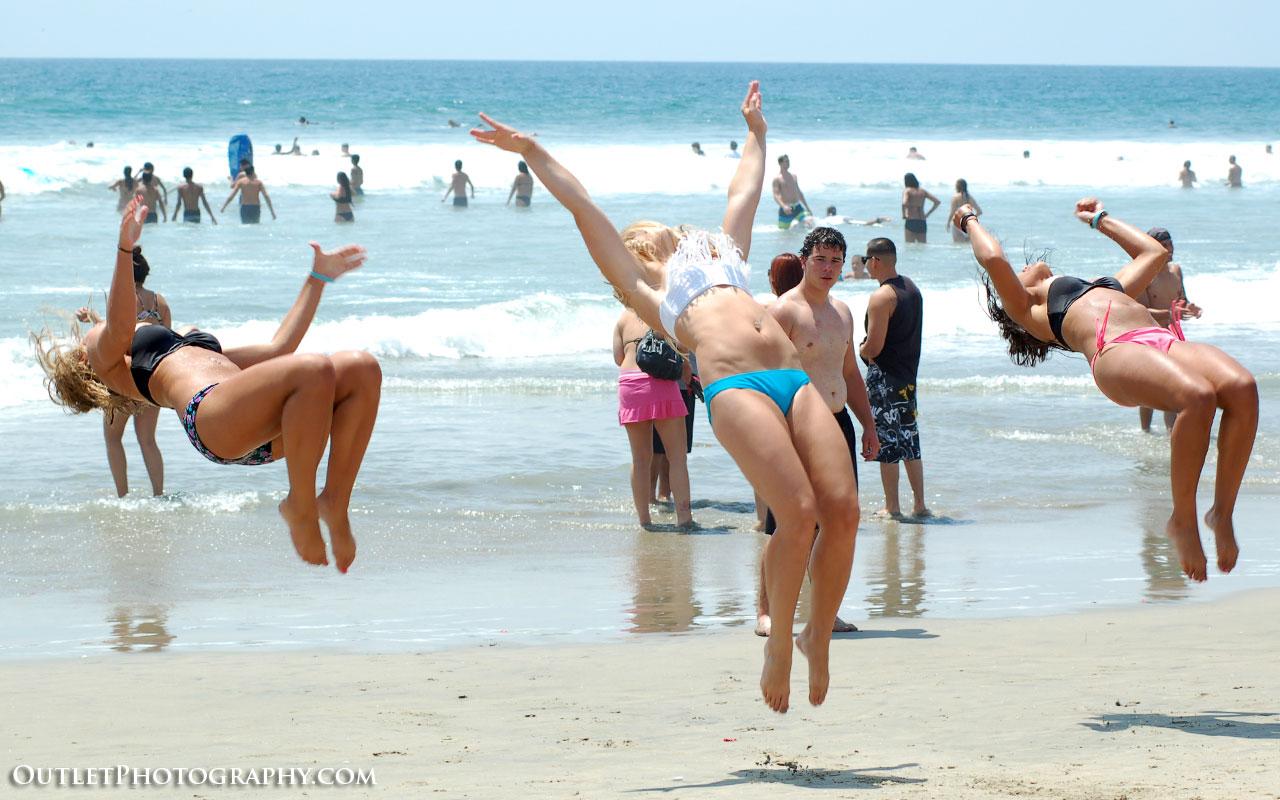Bikini flip at the beach
