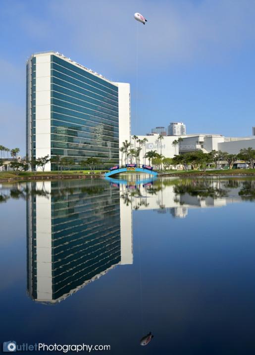 hotel reflection on lake